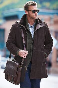 Brunswick Shearling Sheepskin Coat with Lambskin Leather Trim