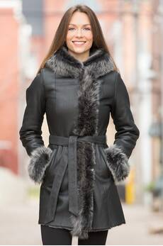 Glenda Shearling Sheepskin Coat with Toscana Trim
