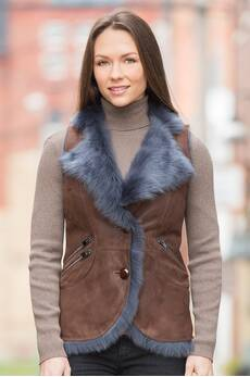 Caressa Shearling Sheepskin Vest with Toscana Trim