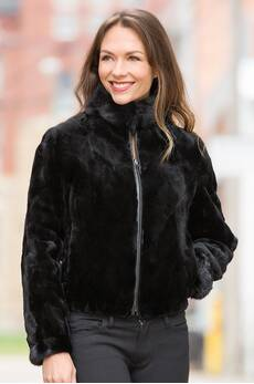 Colesha Reversible Mink Fur and Leather Jacket