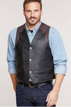 Garrison Bison Leather Vest with Concealed Carry Pockets - Tall (42L - 48L)