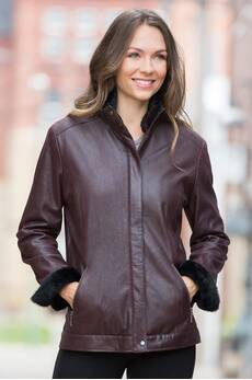 Rhoda Lambskin Leather Jacket with Shearling Collar