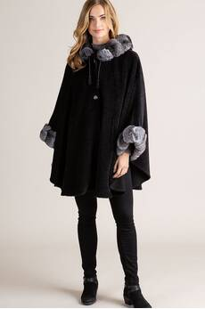 Louise Hooded Alpaca Wool Cape with Chinchilla Fur Trim