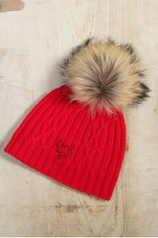 M. Miller Cashmere Cable Knit Beanie Hat with Detachable Raccoon Fur Pom