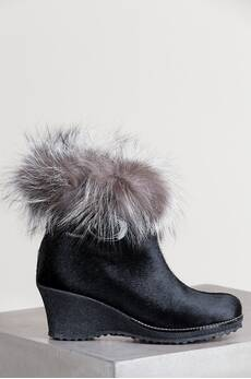 Women's Katy Shearling-Lined Calfskin Leather Boots with Fox Fur Trim