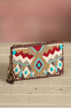Turquoise Power Mary Frances Designer Keychain Coin Pouch