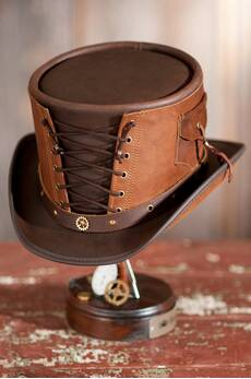 Steampunk Victorian Vested Leather Top Hat