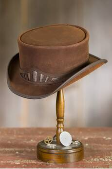 Steampunk Marlow Leather Top Hat with Metallic Hatband