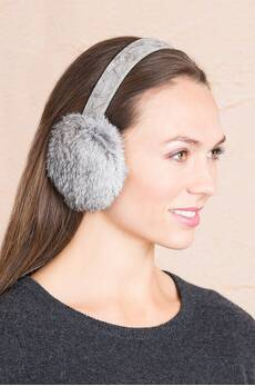 Rabbit Fur Earmuffs with Oak Print Leather Band