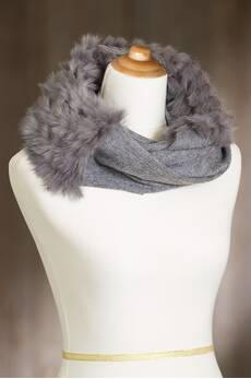 Wool Infinity Scarf with Rex Rabbit Fur