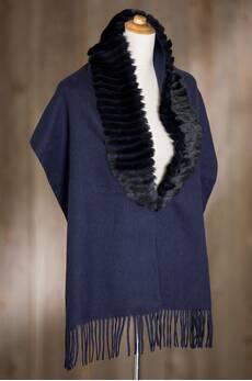Overland Wool Shawl with Rex Rabbit Fur Trim